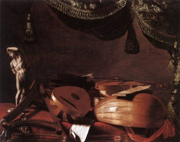 Still Life With Musical Instruments And A Small Classical Statue